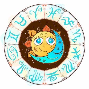 Zodíaco. símbolo astrológico horóscopo. el sol y la luna.