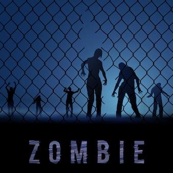 Zombi caminando. ilustración de siluetas para el cartel de halloween