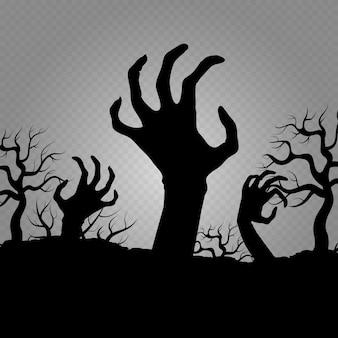 Zombi manos. horror para pancartas de fiesta de halloween, carteles, volantes