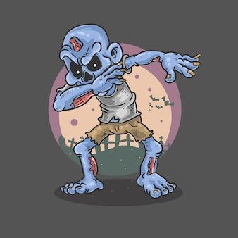 Zombie bailando horror ilustración