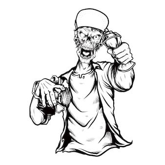 Zombie cráneo con gorra, dibujo a mano manual, aislado, fácil de editar