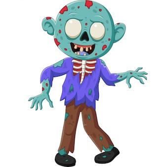 Zombie de dibujos animados aislado en blanco
