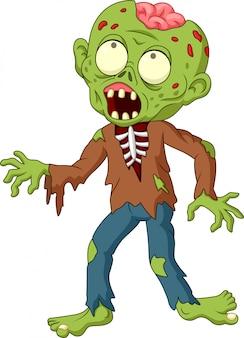 Zombie de dibujos animados aislado sobre fondo blanco