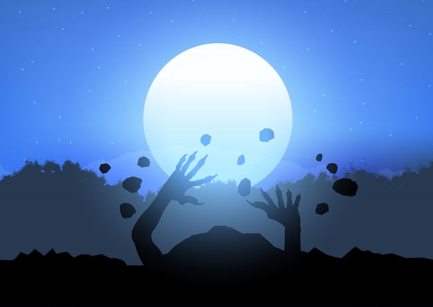 Zombie en erupción desde el suelo