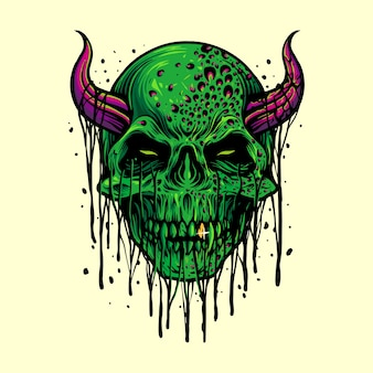 Zombie evil skull halloween ilustraciones