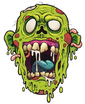 Zombie face cartoon