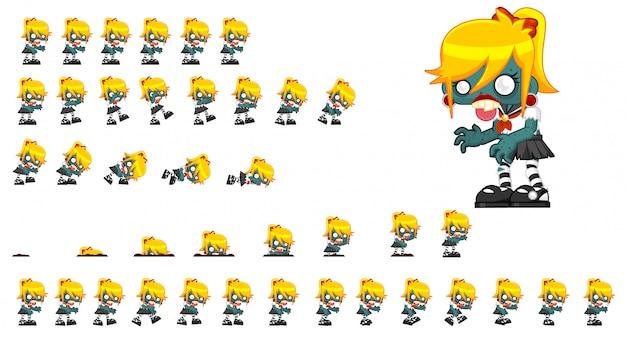 Zombie girl game sprite