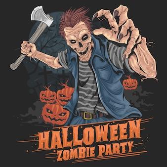Zombie halloween fiesta calabaza
