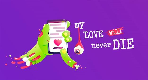 Zombie con hueso y sangre envía un mensaje de amor.