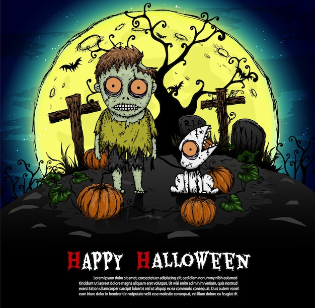 Zombie con luna llena fondo de halloween