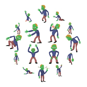 Zombie plantea conjunto de iconos, estilo de dibujos animados