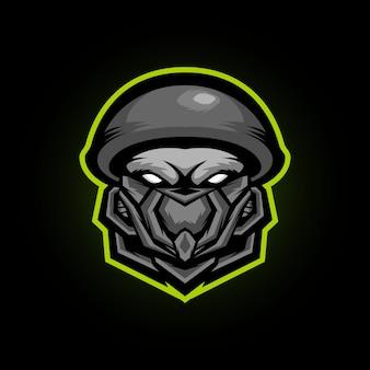 Zombie soldier head e logo de mascota deportiva