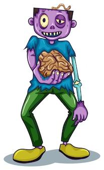 Un zombie sosteniendo su cerebro