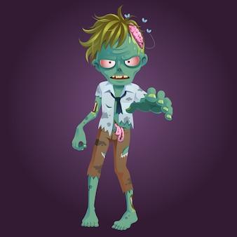 Zombie en trajes de trabajador caminando