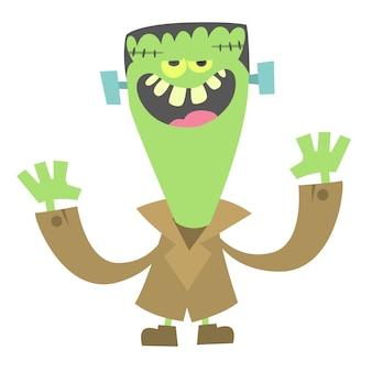 Zombie verde gracioso de dibujos animados