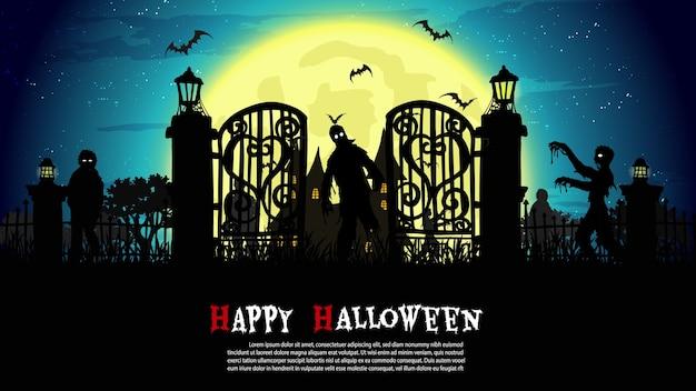 Zombies caminando en la noche de halloween.