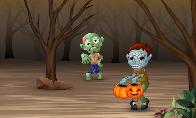 Zombies de dibujos animados caminando en el bosque muerto