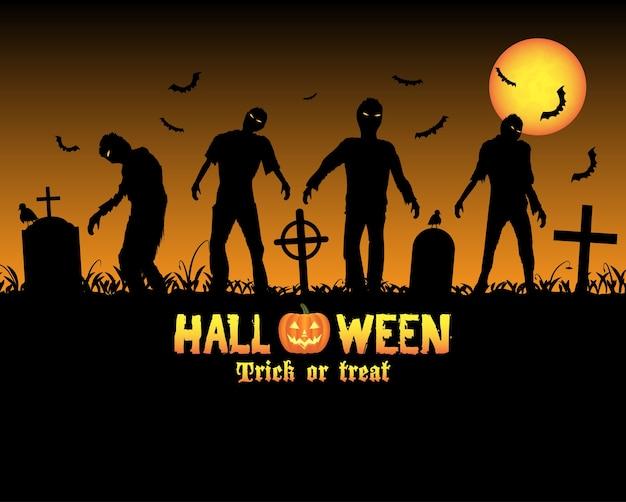 Zombies de halloween en un cementerio