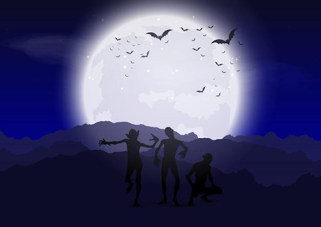 Zombies de halloween contra el cielo iluminado por la luna