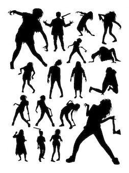 Zombies horror halloween silhouettes.