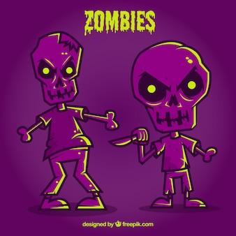 Zombies púrpura de halloween