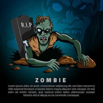 Zombies salen de la tumba plantilla de logotipo