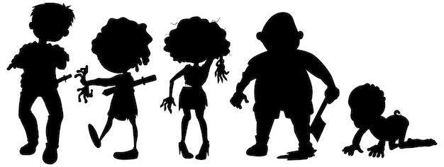 Zombies en silueta en personaje de dibujos animados en blanco