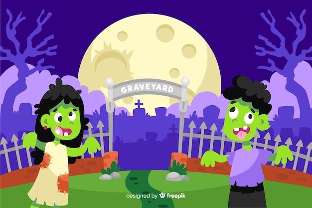 Zombis delante de un cementerio de fondo de halloween