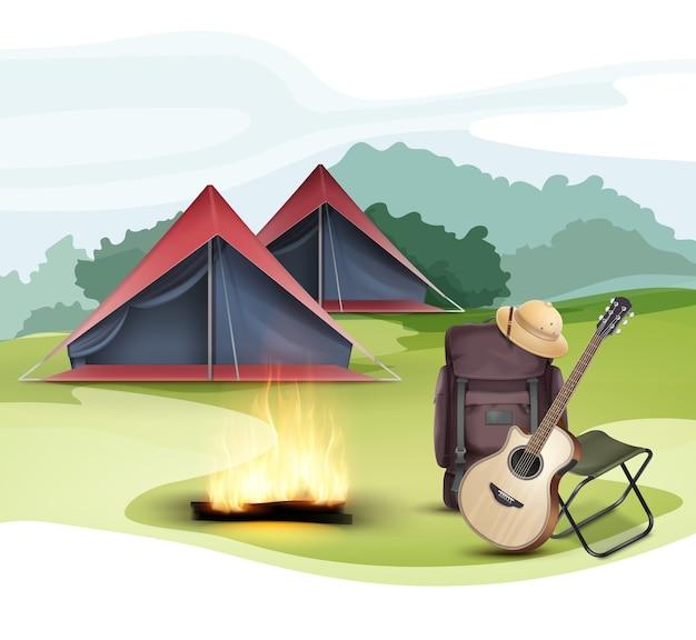 Zona de acampada vectorial con carpa, mochila de viaje grande, silla plegable, sombrero de safari, guitarra y fogata