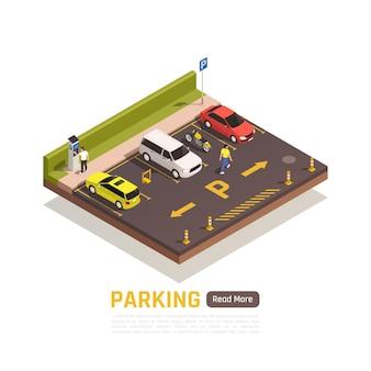 Zona de aparcamiento perpendicular de pago para motos coches scooters vehículos ligeros con espacios reservados composición isométrica