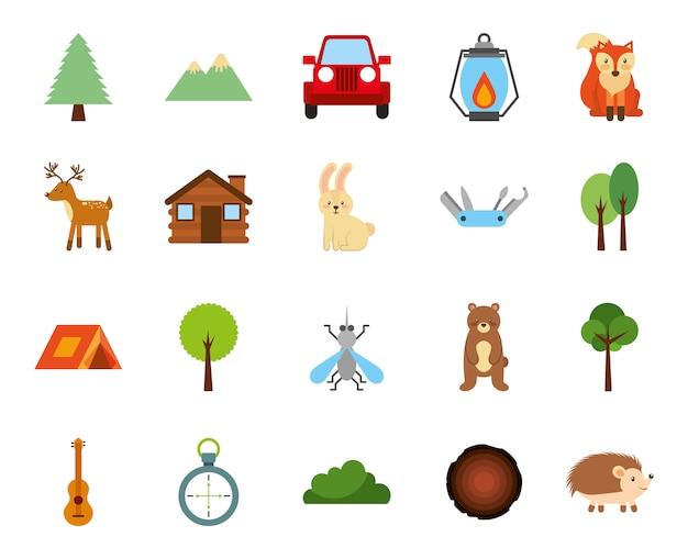 Zona de camping bosque set iconos