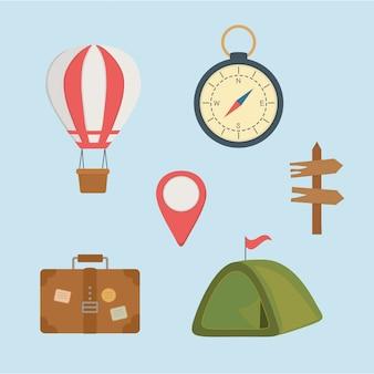 Zona de camping set iconos