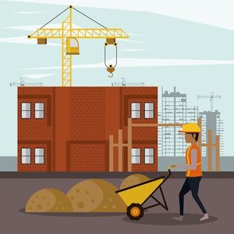 En zona de construcción con trabajadores