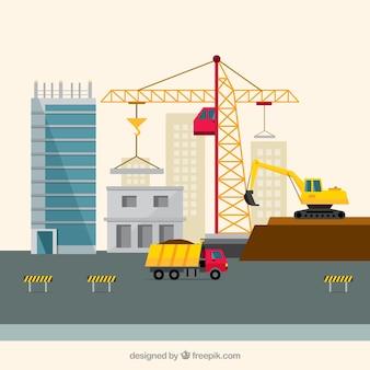 Zona de construcción en diseño plano