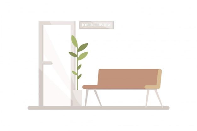 Zona de espera antes de la entrevista ilustración en color semi rgb