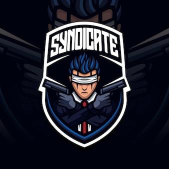 Zona de guerra de la mascota del campo de batalla con el logotipo de esport