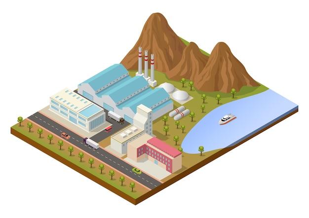Zona industrial isométrica con edificios y montaña.
