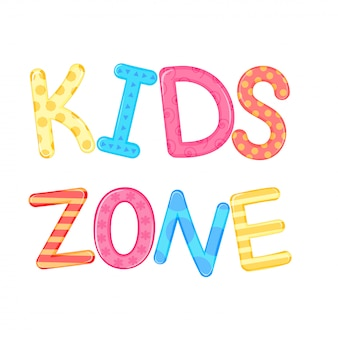 Zona infantil s palabras niños fondo blanco