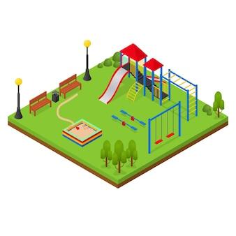 Zona de juegos al aire libre urbana en vista isométrica