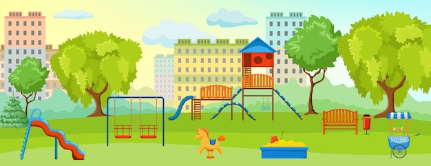 Zona de juegos en la composición del parque con zona de juegos vacía con columpios, juguetes y espacios verdes.