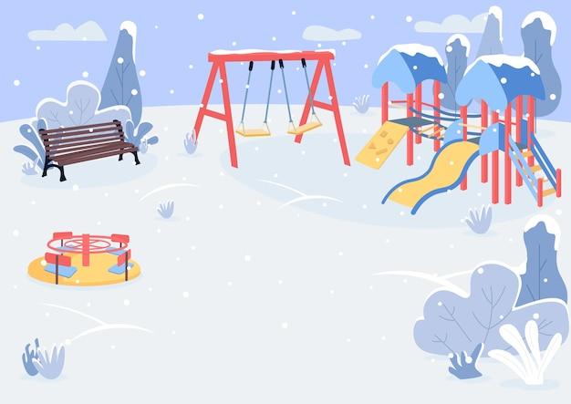 Zona de juegos en la ilustración de color plano de invierno