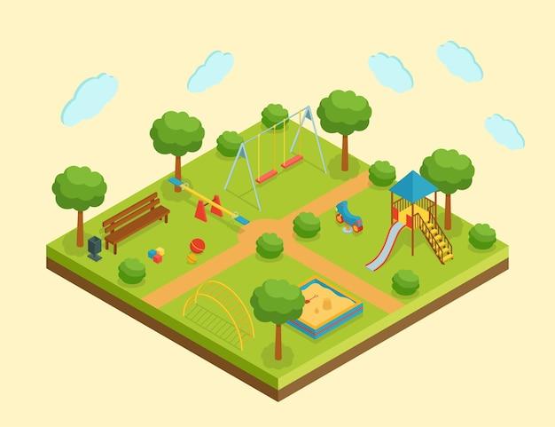 Zona de juegos infantil isométrica, ilustración vectorial