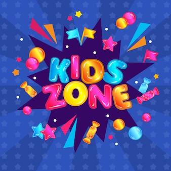 Zona de niños diversión jugar área pancarta signo. etiqueta engomada colorida de la sala de juegos de entretenimiento infantil con explosión de confeti, estrellas, dulces, bolas - ilustración de vector de cartel del parque de actividades