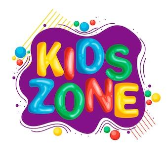 Zona para niños. inscripción brillante. cuarto de los niños. en un estilo de dibujos animados. por su diseño.
