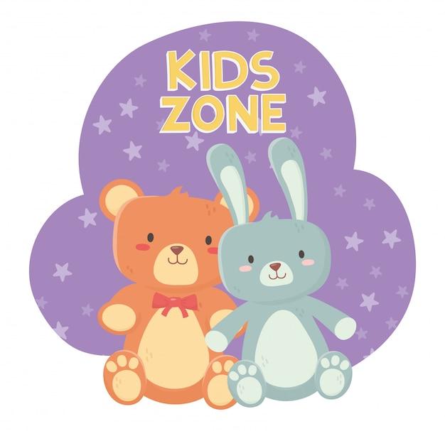 Zona para niños, osito de peluche y lindos juguetes de conejo