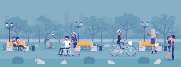 Zona de parque de temporada de primavera o verano con gente. gran jardín público, terreno con césped y árboles, diversión, recreación, los ciudadanos disfrutan de actividades al aire libre, caminatas. ilustración vectorial, personajes sin rostro