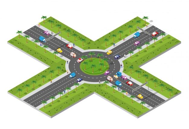 Zona urbana con una intersección.