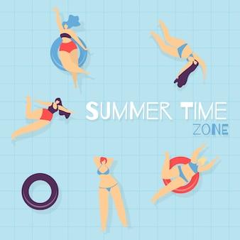 Zona de verano banner promocional de piscina