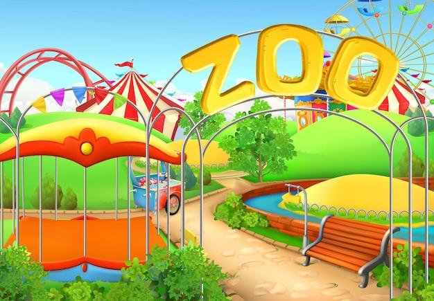 Zoológico, fondo. parque de atracciones. parque infantil
