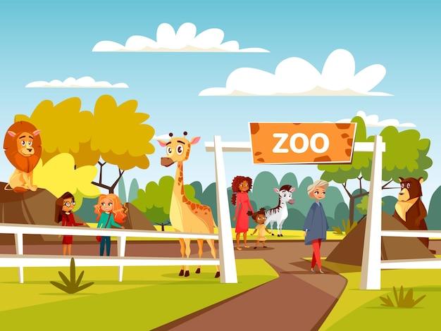 Zoológico o diseño de dibujos animados de zoológico interactivo. animales salvajes y visitantes de zoológico abierto